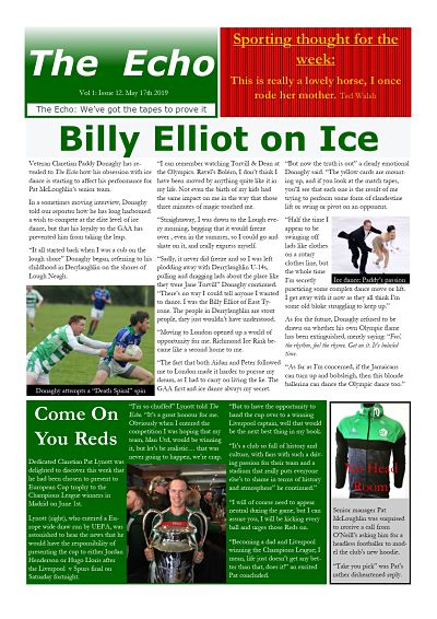 The Echo Issue 12. The weekly newsletter from St Clarets GFC in London. London's best GAA club. A Gaelic football club to be proud of.