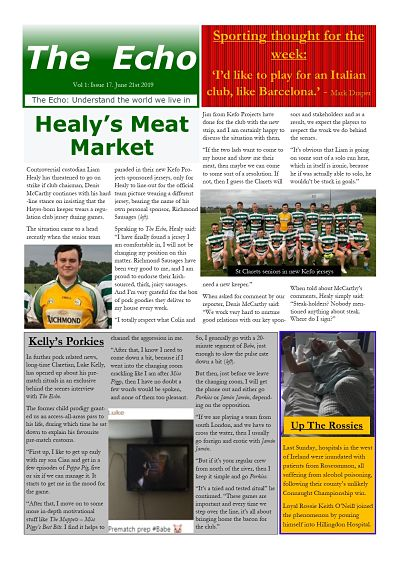 The Echo Issue 17. The weekly newsletter from St Clarets GFC in London. London's best GAA club. A Gaelic football club to be proud of.