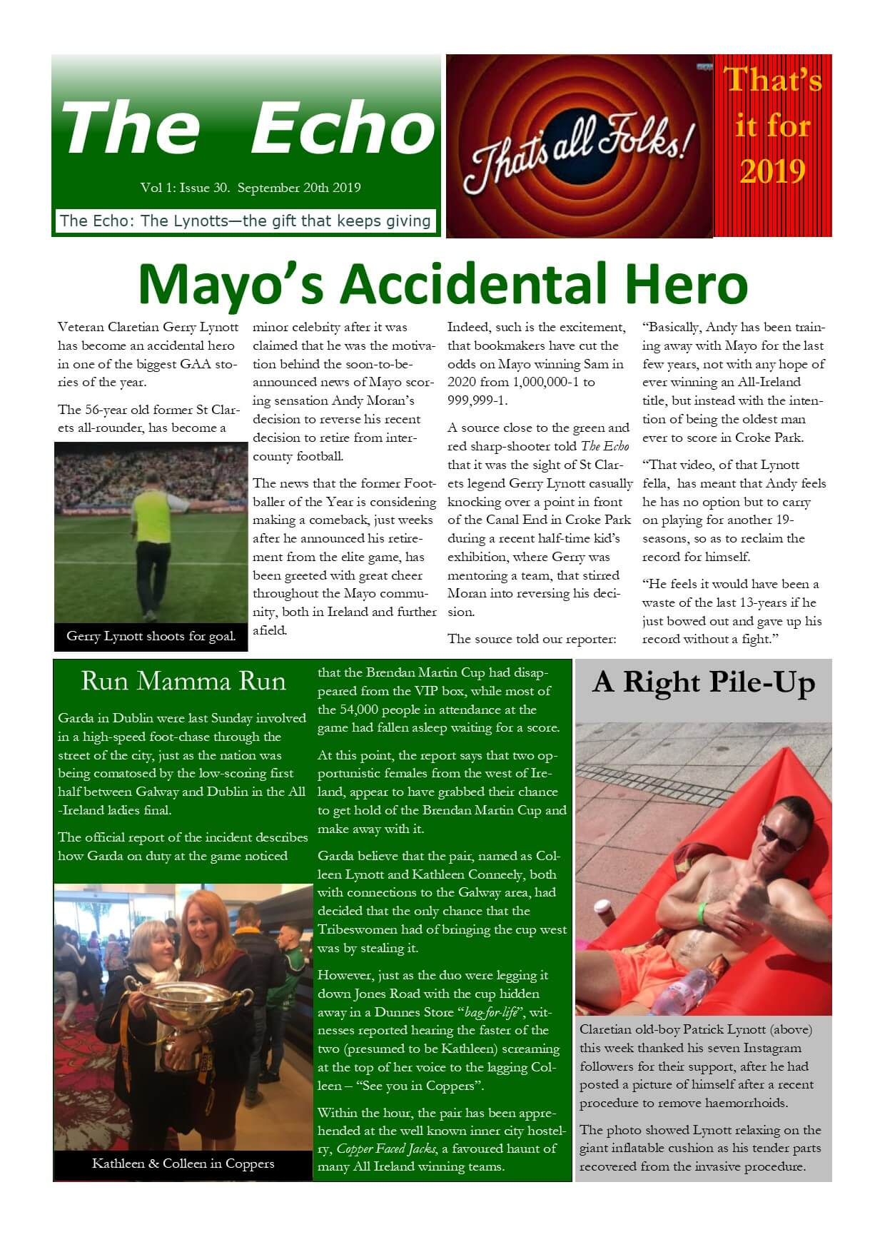 The Echo Issue 30. The weekly newsletter from St Clarets GFC in London. London's best GAA club. A Gaelic football club to be proud of.