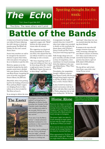 The Echo Issue 9. The weekly newsletter from St Clarets GFC in London. London's best GAA club. A Gaelic football club to be proud of.