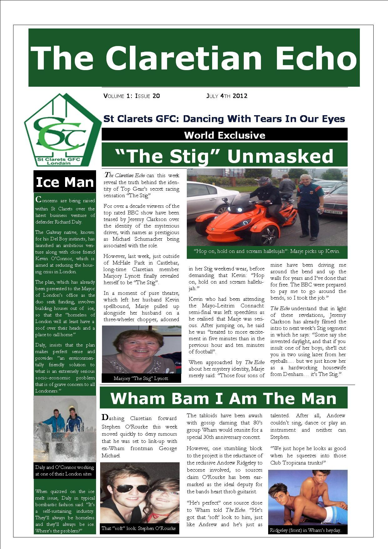 Claretian Echo Issue 20. The weekly newsletter from St Clarets GFC in London. London's best GAA club. A Gaelic football club to be proud of.
