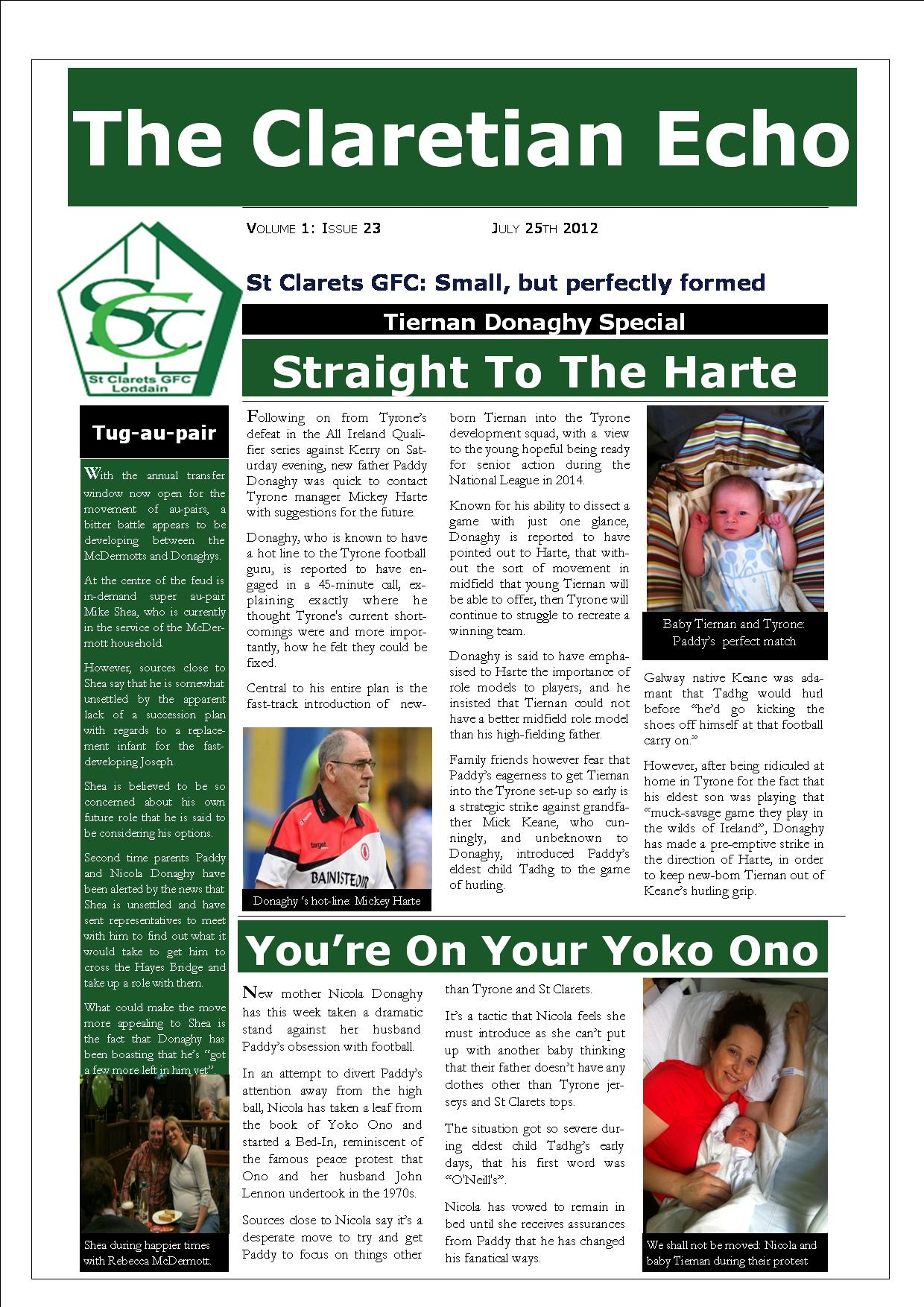 Claretian Echo Issue 23. The weekly newsletter from St Clarets GFC in London. London's best GAA club. A Gaelic football club to be proud of.