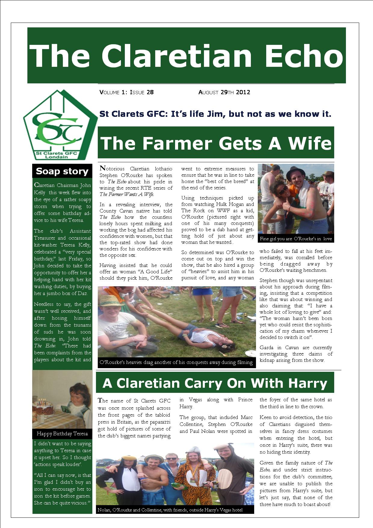 Claretian Echo Issue 28. The weekly newsletter from St Clarets GFC in London. London's best GAA club. A Gaelic football club to be proud of.