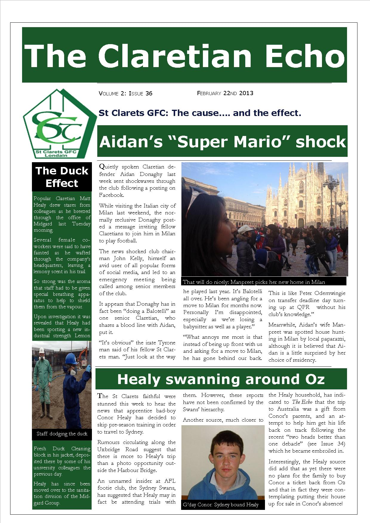 Claretian Echo Issue 36. The weekly newsletter from St Clarets GFC in London. London's best GAA club. A Gaelic football club to be proud of.