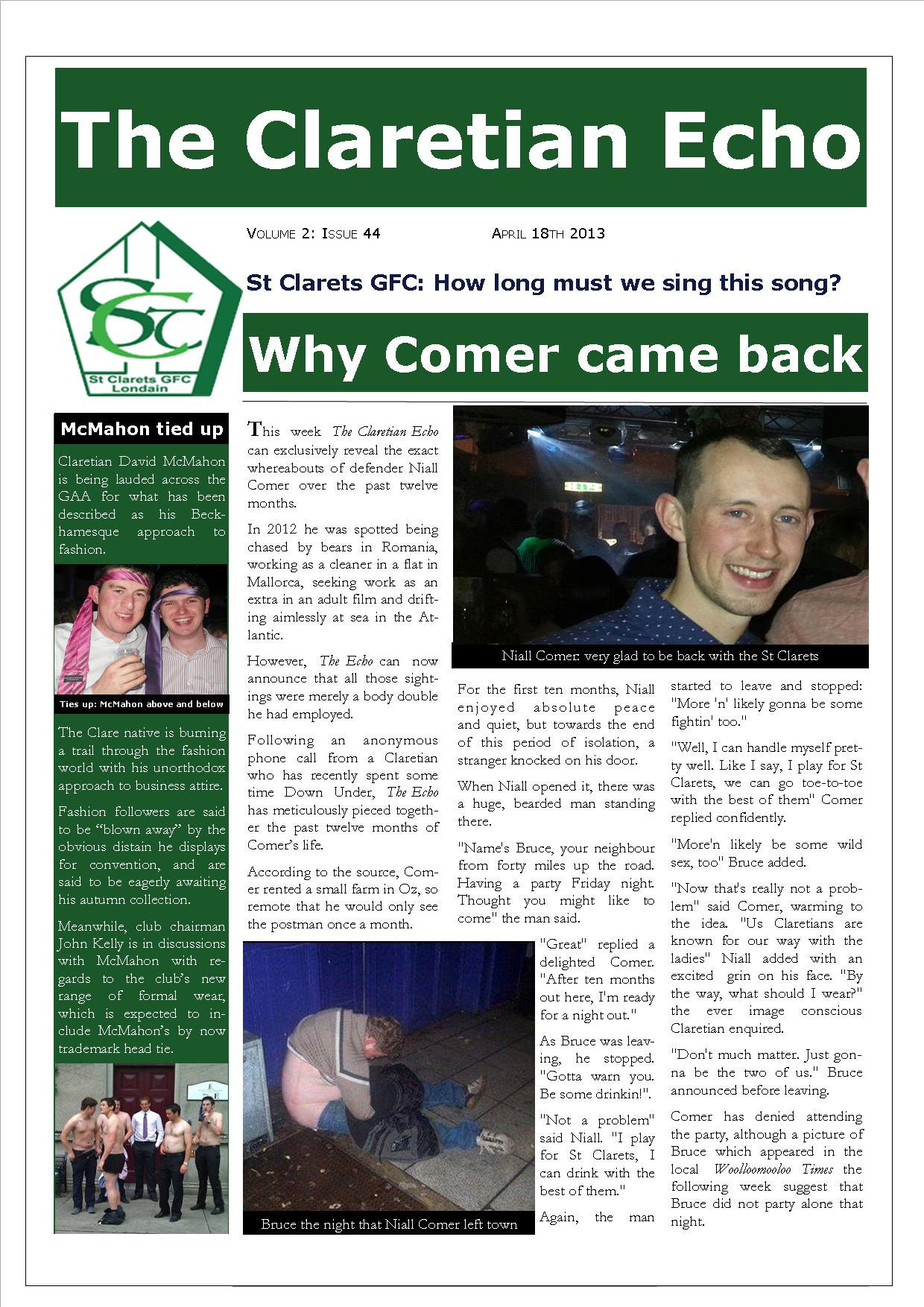 Claretian Echo Issue 44. The weekly newsletter from St Clarets GFC in London. London's best GAA club. A Gaelic football club to be proud of.