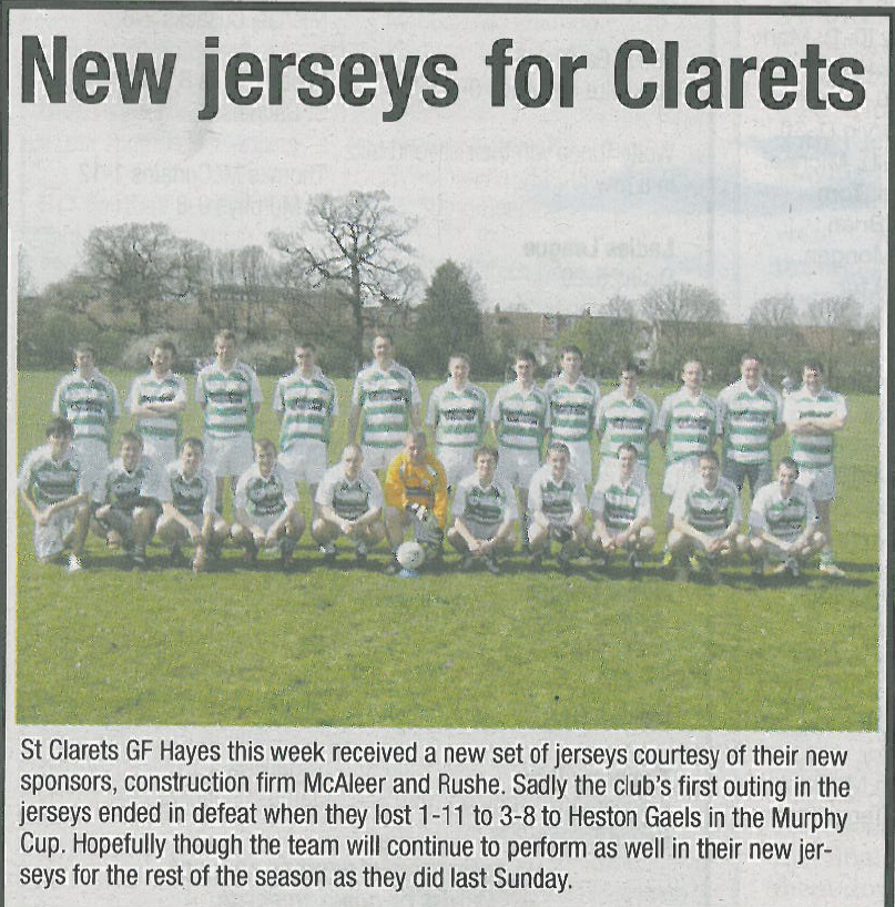 St Clarets v Heston Gaels – new jerseys