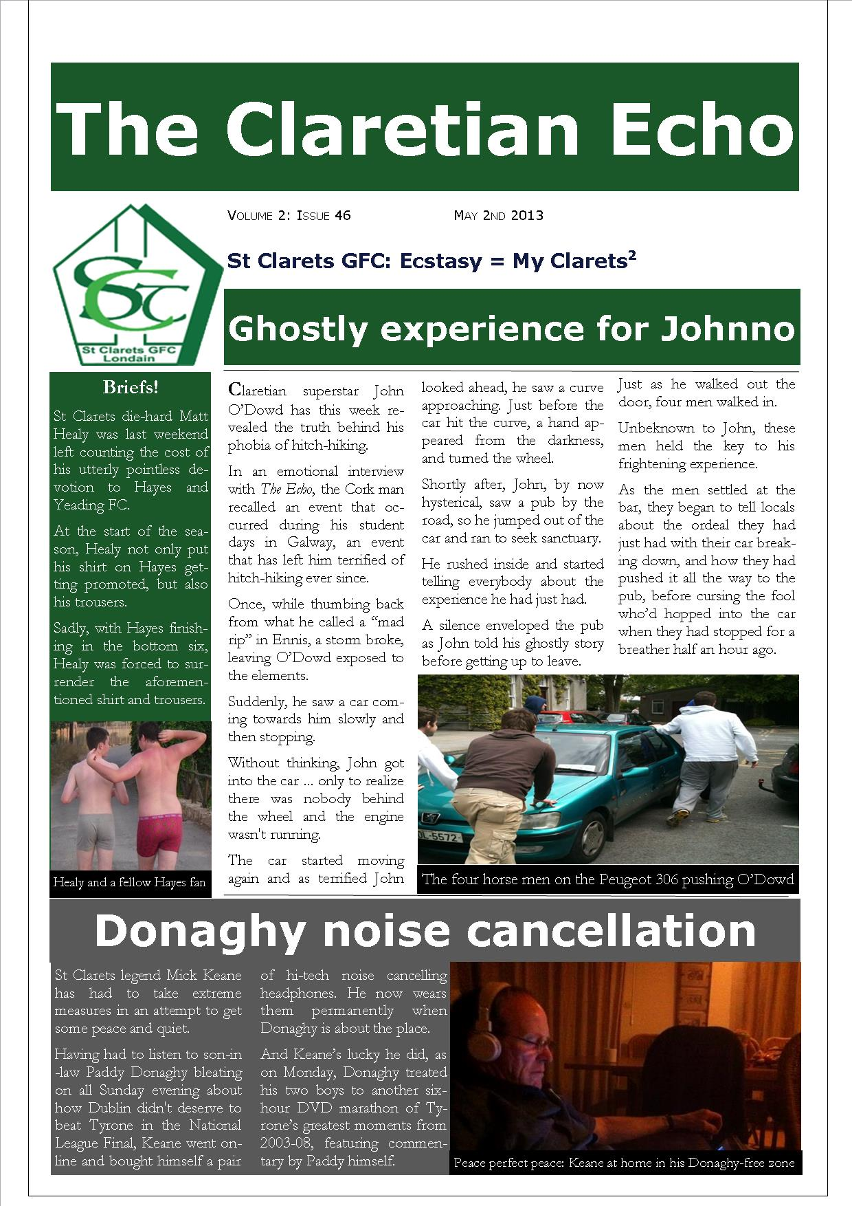 Claretian Echo Issue 46. The weekly newsletter from St Clarets GFC in London. London's best GAA club. A Gaelic football club to be proud of.