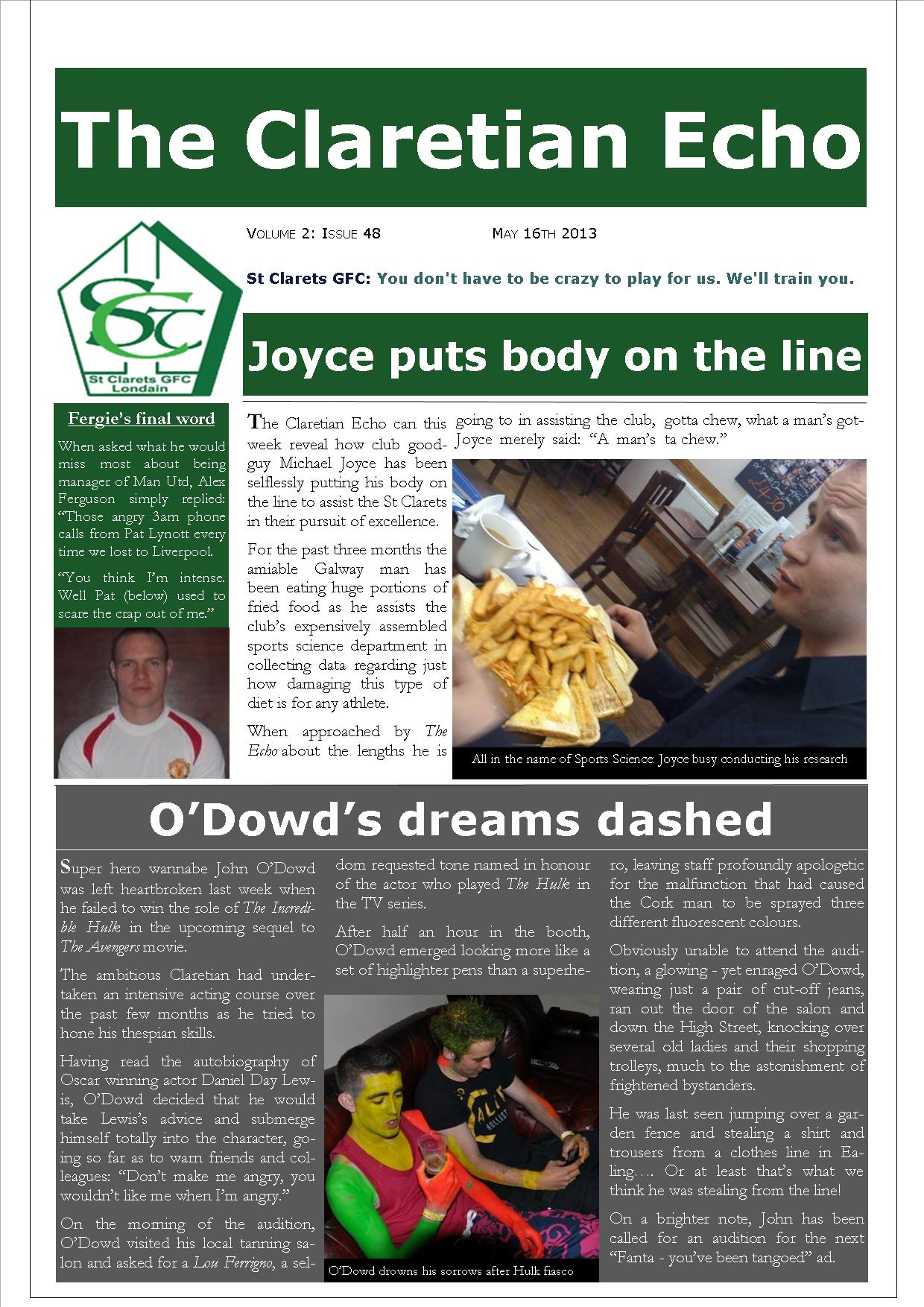 Claretian Echo Issue 48. The weekly newsletter from St Clarets GFC in London. London's best GAA club. A Gaelic football club to be proud of.