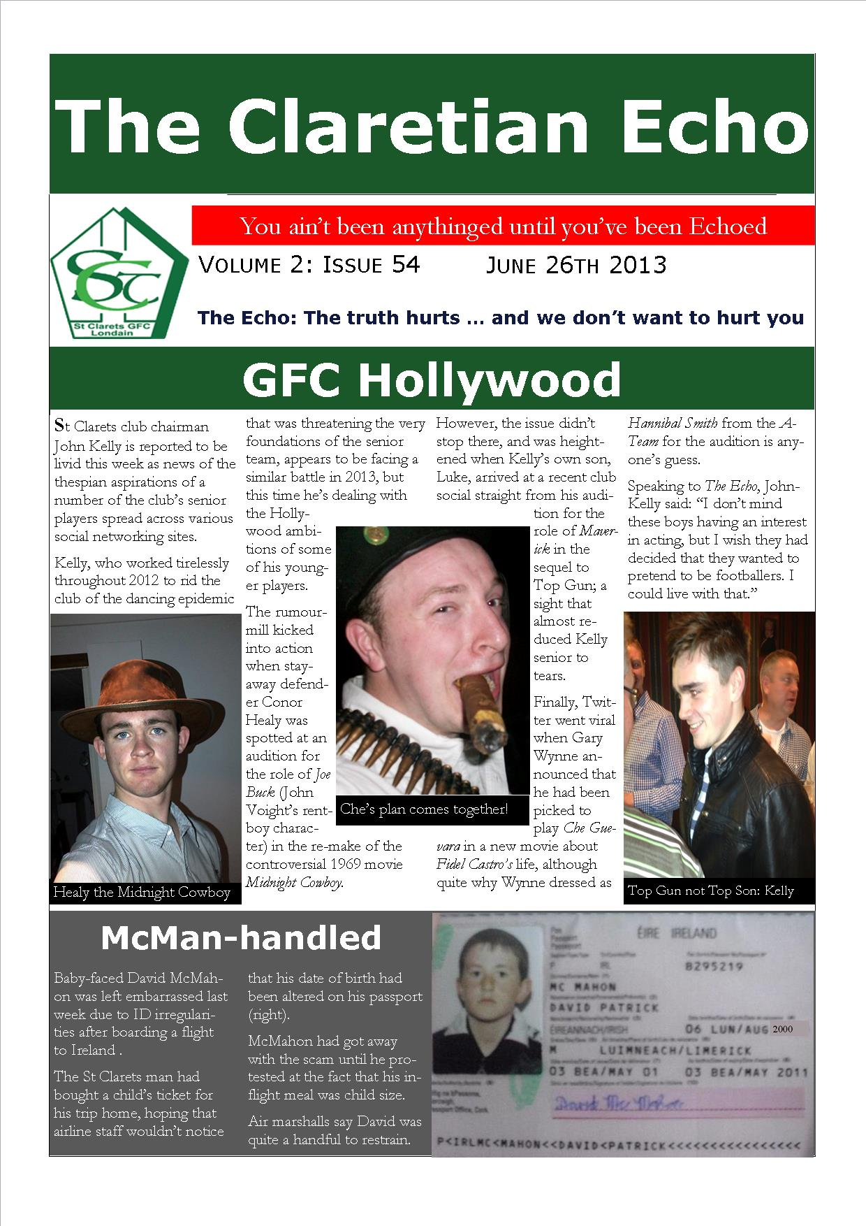 Claretian Echo Issue 54. The weekly newsletter from St Clarets GFC in London. London's best GAA club. A Gaelic football club to be proud of.