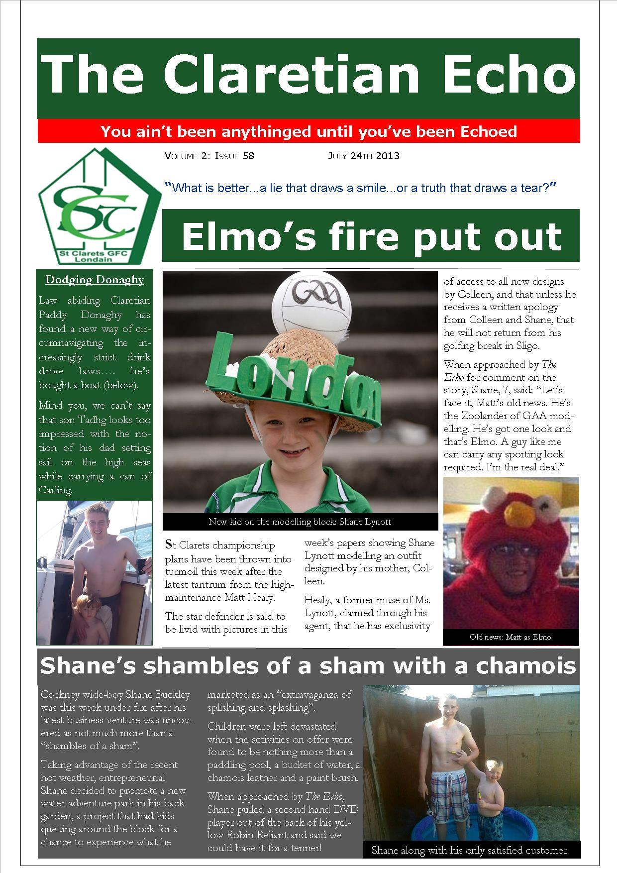 Claretian Echo Issue 58. The weekly newsletter from St Clarets GFC in London. London's best GAA club. A Gaelic football club to be proud of.