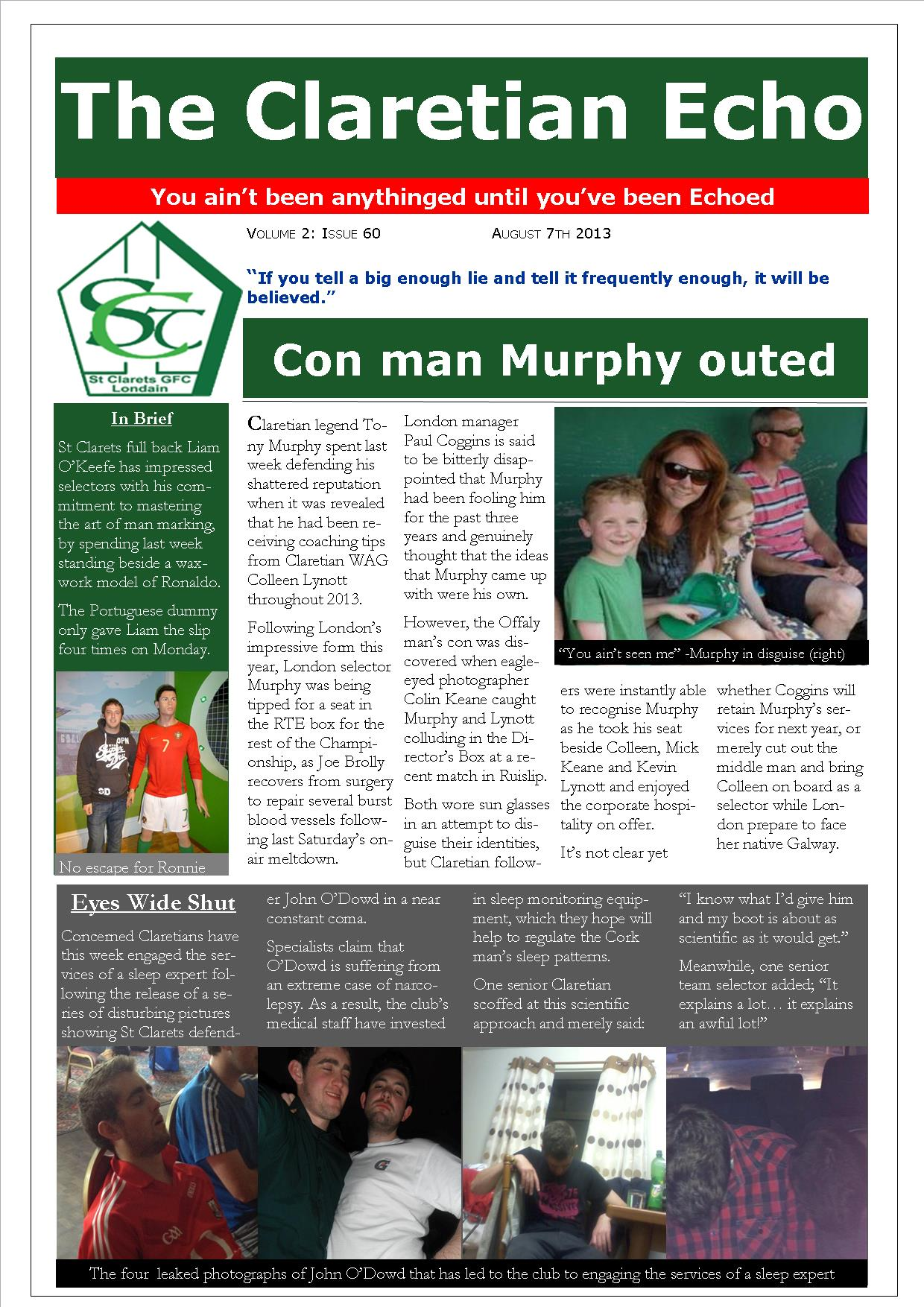 Claretian Echo Issue 60. The weekly newsletter from St Clarets GFC in London. London's best GAA club. A Gaelic football club to be proud of.