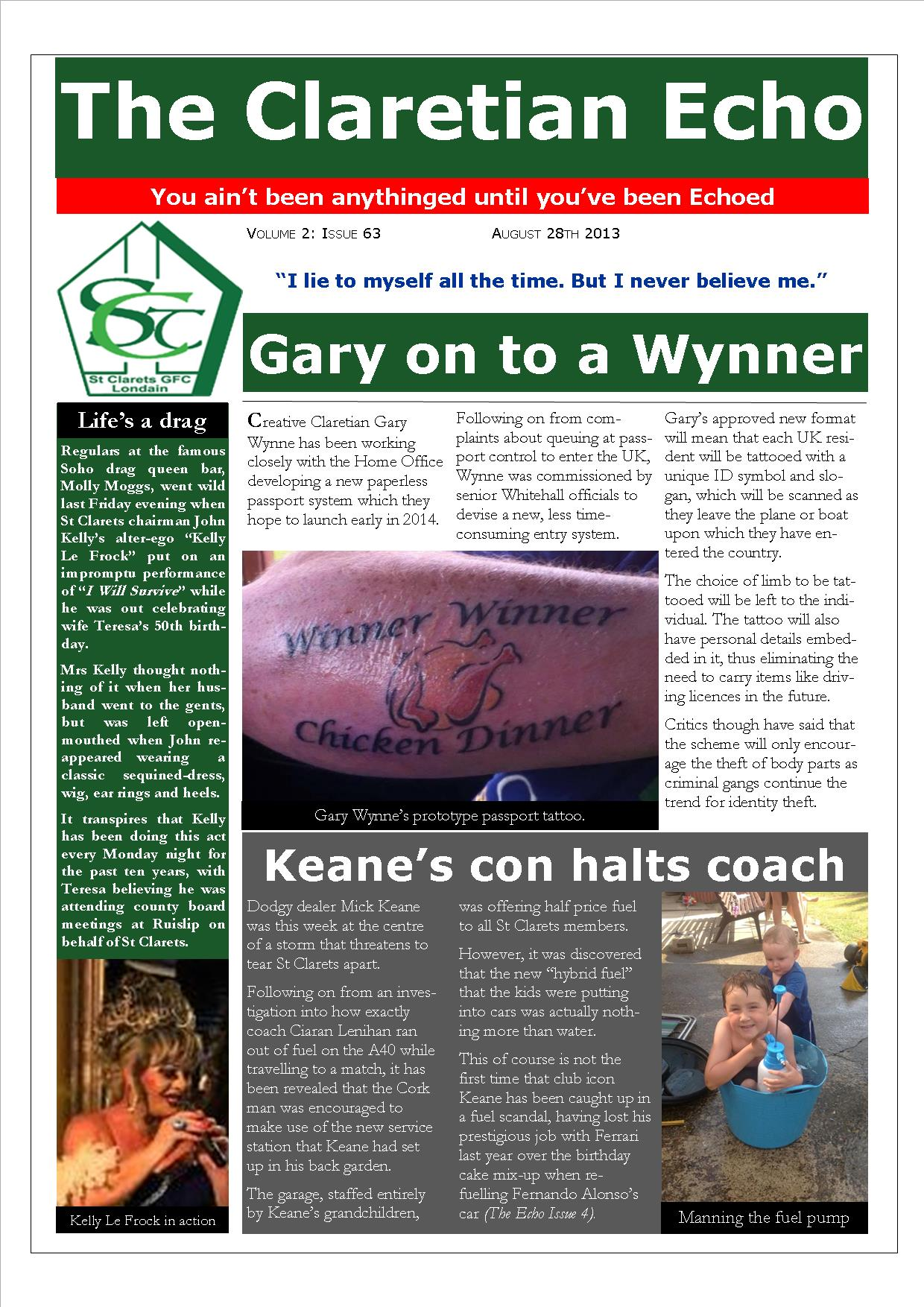 Claretian Echo Issue 63. The weekly newsletter from St Clarets GFC in London. London's best GAA club. A Gaelic football club to be proud of.