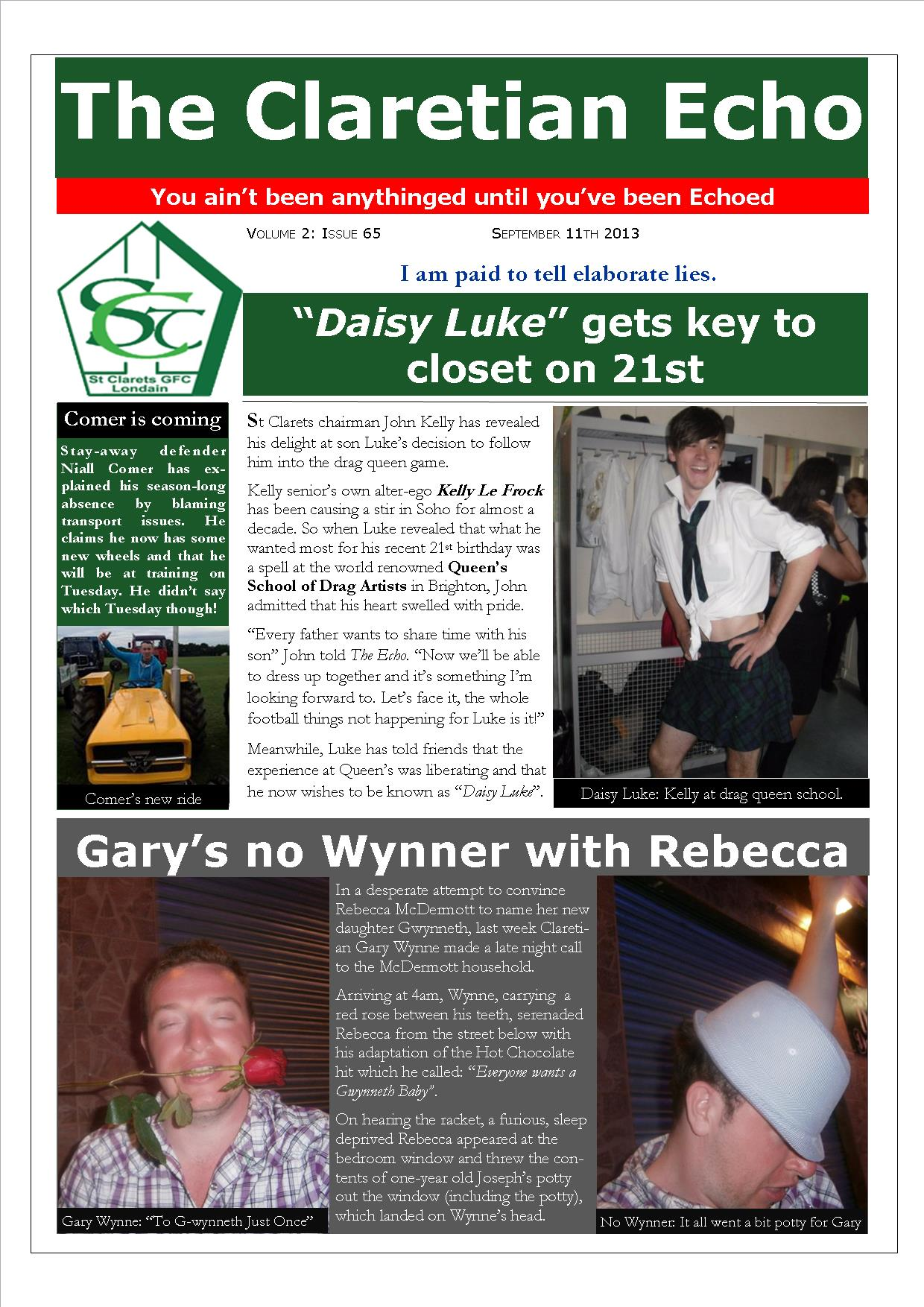 Claretian Echo Issue 65. The weekly newsletter from St Clarets GFC in London. London's best GAA club. A Gaelic football club to be proud of.