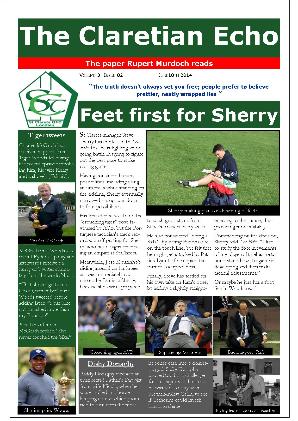 Claretian Echo Issue 82. The weekly newsletter from St Clarets GFC in London. London's best GAA club. A Gaelic football club to be proud of.