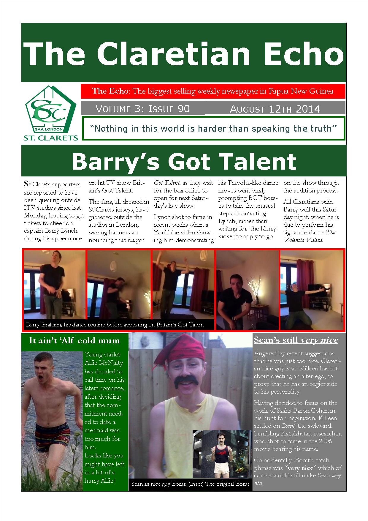 Claretian Echo Issue 90. The weekly newsletter from St Clarets GFC in London. London's best GAA club. A Gaelic football club to be proud of.