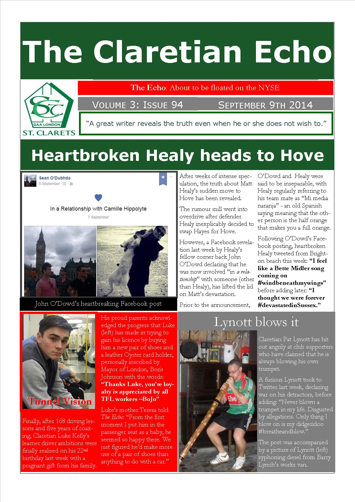 Claretian Echo Issue 94. The weekly newsletter from St Clarets GFC in London. London's best GAA club. A Gaelic football club to be proud of.
