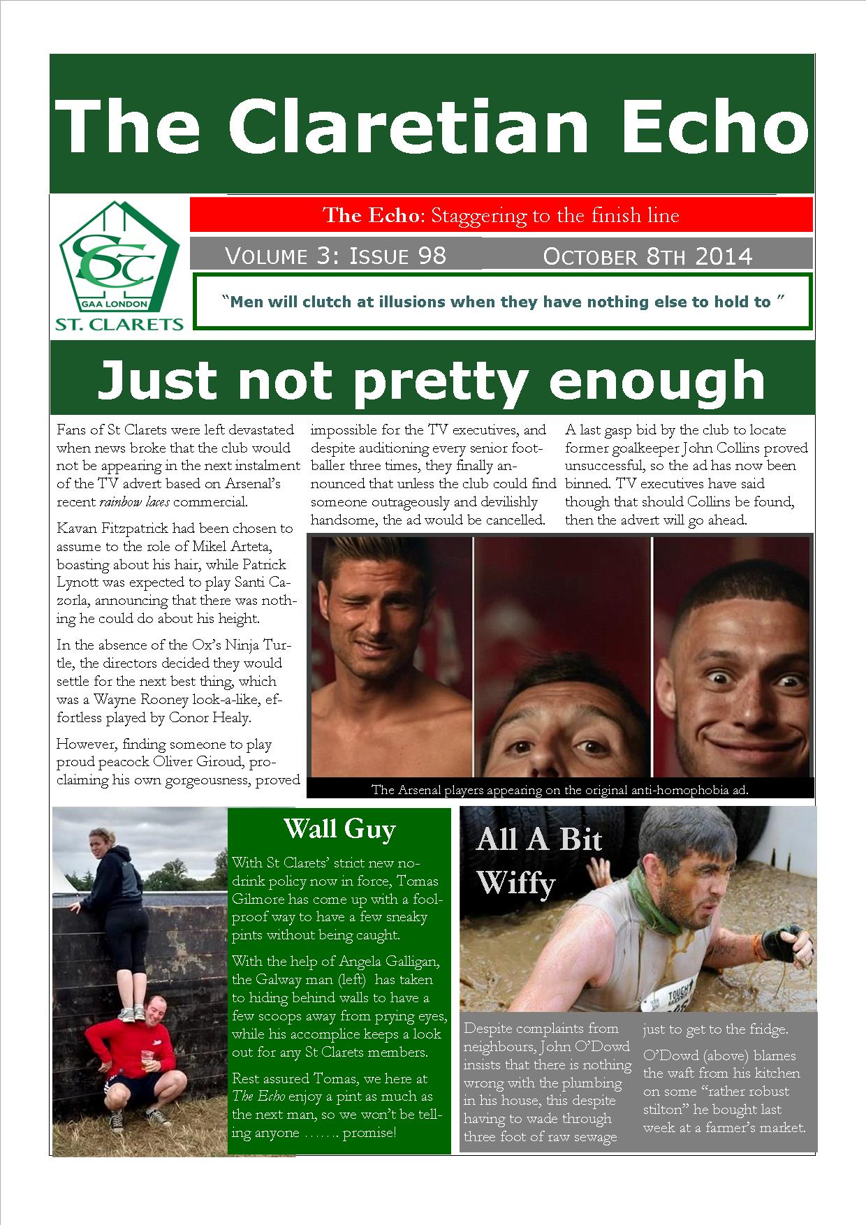 Claretian Echo Issue 98. The weekly newsletter from St Clarets GFC in London. London's best GAA club. A Gaelic football club to be proud of.