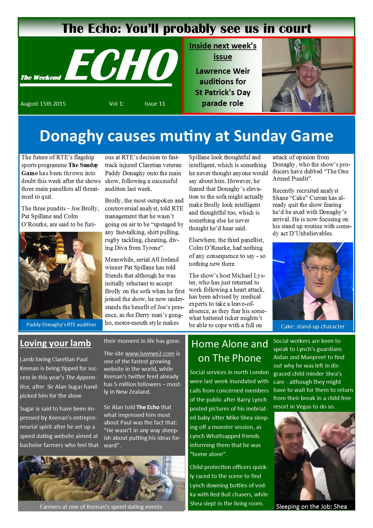 Weekend Echo Issue 11. The weekly newsletter from St Clarets GFC in London. London's best GAA club. A Gaelic football club to be proud of.